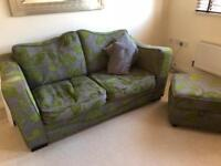Lovely two seater sofa bed + pouffe
