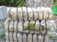 LAWN EDGING x 7 PIECES - WELL WEATHERED CONCRETE BLOCKS