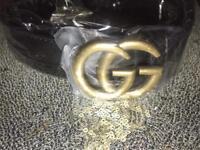 Womens Gucci GG Belt Inspired Leather Designer Black Gold
