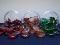 3x Tubs Dartington Crystal Glass Nuggets Red/Orange/Green Flower Arrangement/Fish Tanks