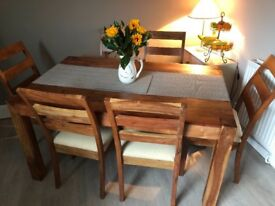 Dining table & 6 chairs - solid wood
