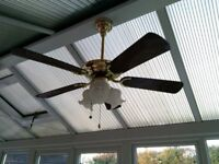 2 Fantasia Mayfair 106cm ceiling fans with 3 lights and remote controls