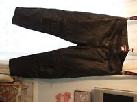 leather motorcycle trousers.