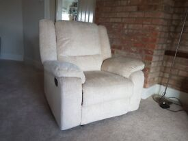 Shelly Fabric Manual Recliner Chair - Beige ( collection only )