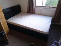 Small double, brown leather bed with exceptional storage space (VALUE FOR MONEY!!)