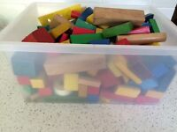 Big box of wooden blocks over 220 pieces