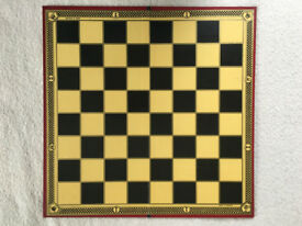 Colourful, decorative, vintage Ilex-Series Chess and Draughts Board. Made in England. Can post. £2