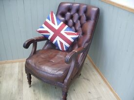 Stunning Leather Brown Chesterfield Library Chair.