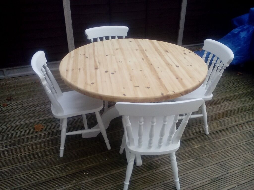 Pine shabby chic round table and 4 chairsin Braintree, EssexGumtree - Pine shabby chic round table and 4 chairs table top natural pine pedestal and chairs painted in white farrow and ball paint table top come off for transport size of table 30 high 46 dieamert inches braintree