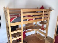 Natural wood high sleeper/loft bed with desk and chair. Rock solid, great condition.