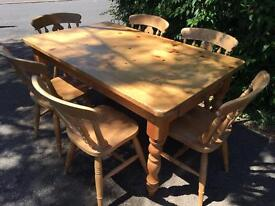 Solid Pine Farmhouse table with drawer and chair set . Possible Delivery