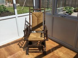 Solid oak antique rocking chair