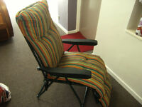 2 x AS NEW GARDEN/PATIO/CONSERVATORY/ RECLINING CHAIRS WITH CUSHIONS