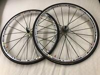 700 x 23c Mavic carbon spoke SSC wheels front and back SLS