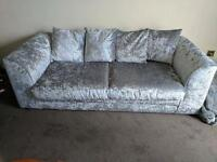 Two crushed velvet settees