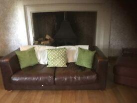 Brown leather sofa good quality