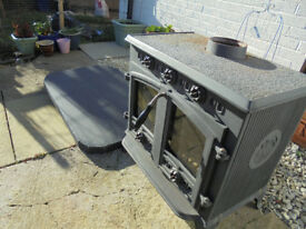 Black Cast Iron Wood Burner - Excellent Condition
