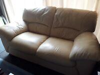 2 Seater Leather Cream Sofa (x2)