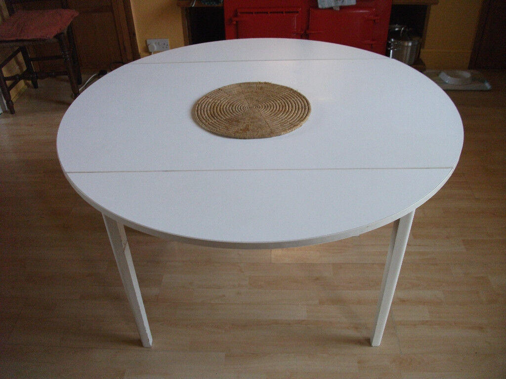 "Formica circular kitchen table, folding edges, 41"" diameter ..."