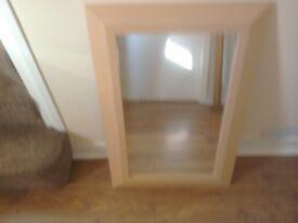 Beige Framed Mirror