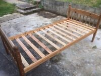 Pine wooden slated single bed