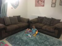 3 and 2 seater sofa plus storage pouf