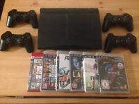 Mind condition slim PS3 500GB + 4 controllers and 6 games