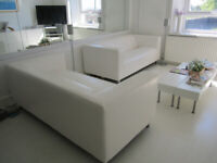 IKEA white leather look 3 seater + 3 seater sofas. £159 each. Immaculate, as new settees.