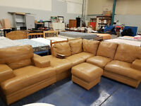 beatiful caramel coloured corner sofa with chair some slight marks selling cheap