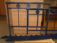 Single Blue Metal Bed Frame with Sprung Slats