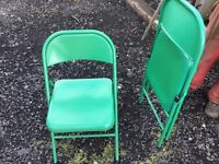 I have 8 superb green metal folding, strong chairs, donated for local cancer charity funds, thanks.