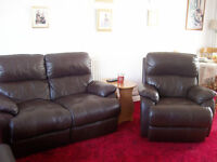 Leather 2 seater reclining sofa and chair