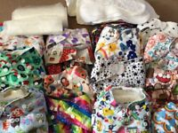 15reusable nappies plus liners and nappy bin. Size from birth to toddler. Smoke free, pet free home