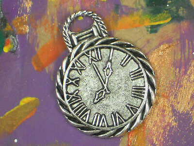 4 Pocket Watch Charms Timepiece Clock Face Antiqued Silver Tone Pendants #P968