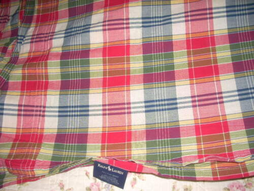 "RALPH LAUREN ""SUNDECK PLAID"" Full Standard Flat Sheet Red Madras Cotton EUC"
