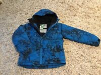 Ski jacket, padded, size large youth, blue/black patterned, excellent condition.
