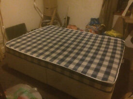 Double bed (divan base with mattress) for sale
