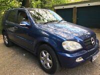 Mercedes ML 500 4966cc Petrol Automatic 7 seat 4x4 estate 52 Plate 20/11/2002 Blue