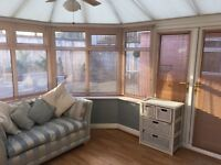 White UPVC Conservatory - Includes Verticle and Roof Blinds and Roof Fan