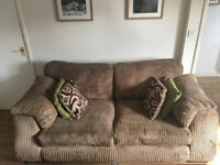 DFS Panama 3 Seat Sofa + Rotating Round Sunggle Love Chair and Footstool/Pouffe