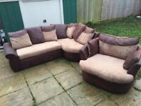 Brown Corner Sofa with cuddle chair