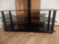 Black TV Stand with 2 Shelves