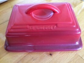 Le Creuset Cerise Stoneware Butter Dish, Red
