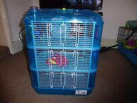 Little Zoo Heather Fantasia Blue Three Story Hamster cage + accessories wheel