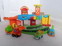 Vtech toot toot garage with three interactive vehicles