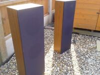 Pair of wooden sound/ stage speakers. Three feet tall by one foot wide