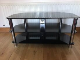 ***REDUCED*** Black glass and chrome tv stand