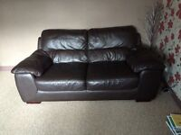 2 and 3 seater brown leather settees - great condition!
