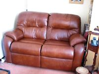 G PLAN LEATHER RECLINER AND 2 SEATER SETTEE