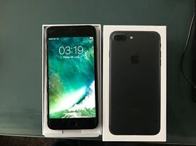 APPLE IPHONE 7 PLUS 126gb EE / VIRGIN MATT BLACK AS NEW WARRANTY 2018